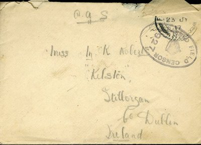 Letter from Herbert Morris R.F.C. to Monica Roberts 20th July 1917