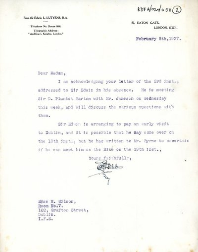 Letter [copy] from [Miss H.G. Wilson], Secretary, Irish National War Memorial Committee to Sir Edwin Lutyens.