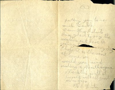 Letter from Private S. Martin to Monica Roberts