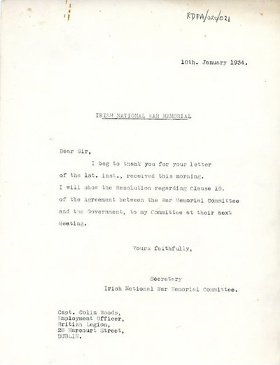 Letter [carbon-copy]  from [Miss H.G. Wilson], Secretary, Irish National War Memorial, Room No. 7, 102 Grafton Street, Dublin to Captain Colin M. Woods, Employment Officer, British Legion, Irish Free State Area.
