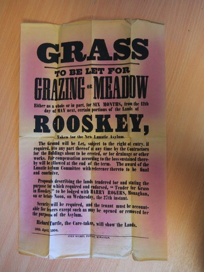 World Within Walls organisational documents: Poster for let of grazing meadow 1864