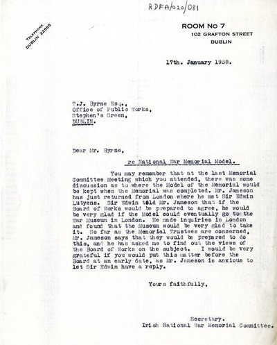 Letter from [Miss H.G. Wilson], Secretary, Irish National War Memorial Committee to T.J. Byrne, Principal Architect, OPW.