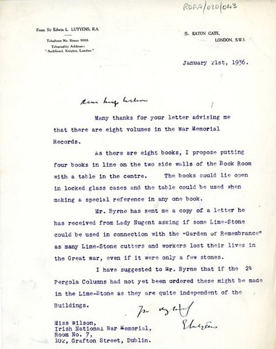 Letter [original] from Sir Edwin Lutyens, 5 Eaton Gate, London S.W.I to Miss H.G. Wilson, Secretary, Irish National War Memorial Committee, Room No. 7, 102 Grafton Street, Dublin.