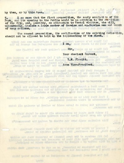 Memorandum [copy] from Lt. Col. T.E. Flewitt, Heronford, Shankill, Co. Dublin to Chairman, British Legion, Ireland, Southern Area.