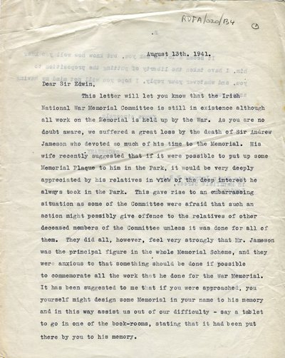 Letter from [Mrs H. Lytton-Wilson], Secretary, Irish National War Memorial Committee, to Sir Edwin Lutyens; with his reply.