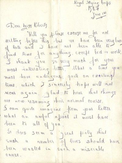 Herbert Morris R.F.C.1st June 1916