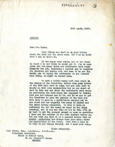 Correspondence between [Miss H.G. Wilson], Secretary, Irish National War Memorial Committee; T.J. Byrne, Principal Architect, Office of Public Works; and Sir Andrew Jameson, trustee, Irish National War Memorial Committee.