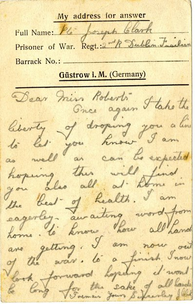 Letter DCLA/RDFA1.09.005 from Pte Joseph Clark to Monica Roberts