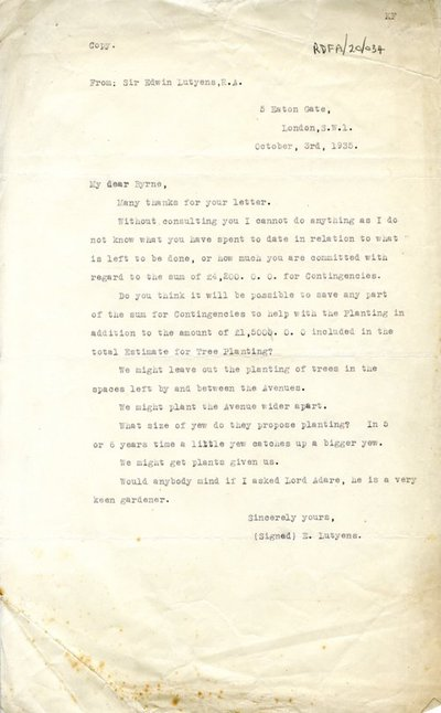 Letter [typed copy] from Sir Edwin Lutyens, 5 Eaton Gate, London, S.W.1 to T.J. Byrne, Office of Public Works, Dublin.