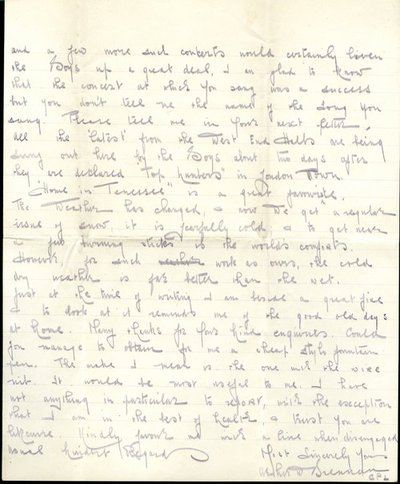Letter from Coropral Arthur Brennan to Monica Roberts