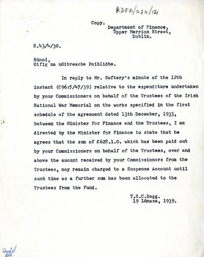 Copy letter from T.S.C. Dagg, Department of Finance, Upper Merrion Street, Dublin to The Secretary, Office of Public Works.