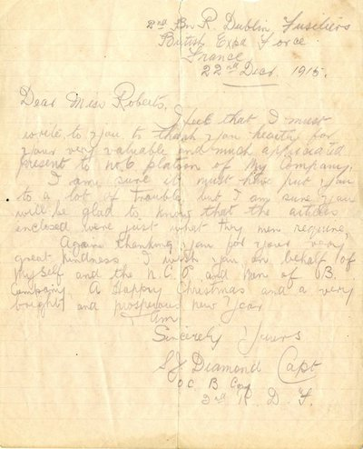 Letter from Capt. S.J. Diamond to Monica Roberts