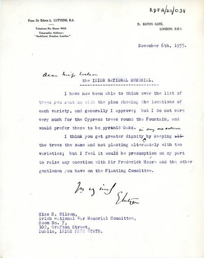 Letter from Sir Edwin Lutyens, 5 Eaton Gate, London S.W.I to Miss H.G. Wilson, Secretary, Irish National War Memorial Committee, Room No. 7, 102 Grafton Street, Dublin.