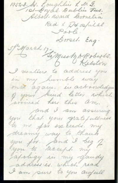 Letter from Private Harry Loughlin to Monica Roberts