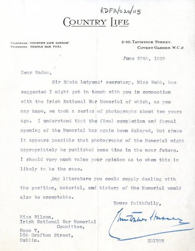 Letter from Christopher Hussey, Editor, Country Life magazine to Miss H.G. Wilson, Secretary, Irish National War Memorial Committee.