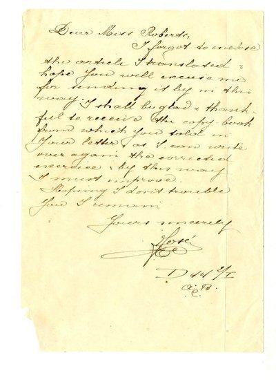 Letter DCLA/RDFA.01.08.030 from Belgian Soldier José Verachtert to Monica Roberts