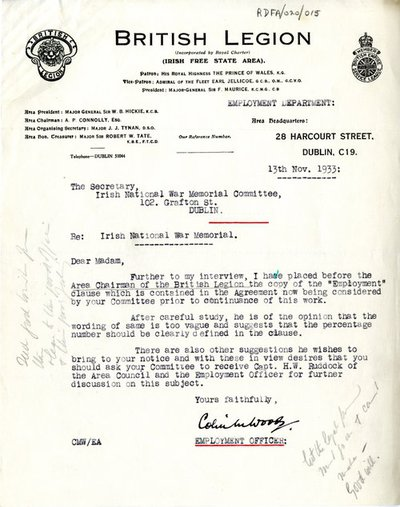 Letter from Captain Colin M. Woods, Employment Officer, British Legion, Irish Free State Area, 28 Harcourt Street, Dublin, to Miss H.G. Wilson, Secretary, Irish National War Memorial Committee, Room No. 7, 102 Grafton Street, Dublin.