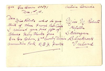Colur Postcard DCLA/RDFA.01.08.040 from Gunner George Brown to Monica Roberts