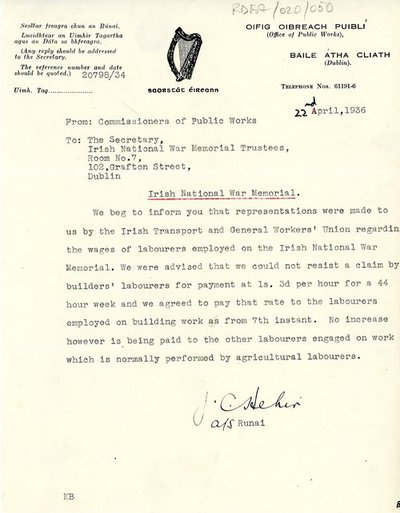 Letter [original] from J.C. Hehir, Secretary, Commissioners of Public Works, to [Miss H.G. Wilson], Secretary, Irish National War Memorial Committee.