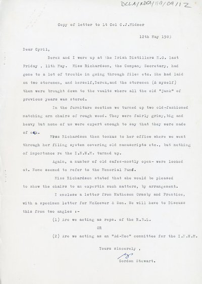 Copy of letter from Gordon Stewart to Lt C. J. Midmer