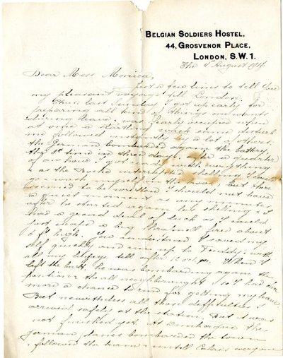 Letter DCLA/RDFA.01.08.006 from Belgian Soldier J. Verachtert to Monica Roberts
