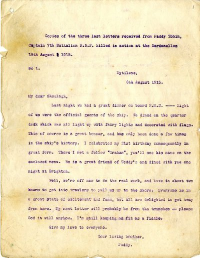 Letter from Captain Patrick Richard Tobin to his sister Sheelagh, 8 August 1915.