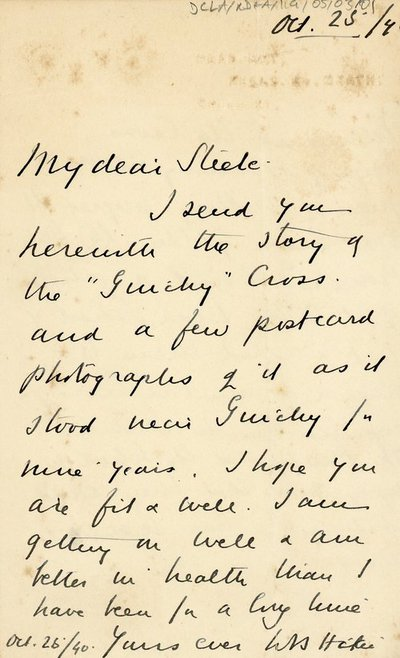 Letter to 'Steele' from [W.S] Hickie of Headfort, Kells, Co. Meath.