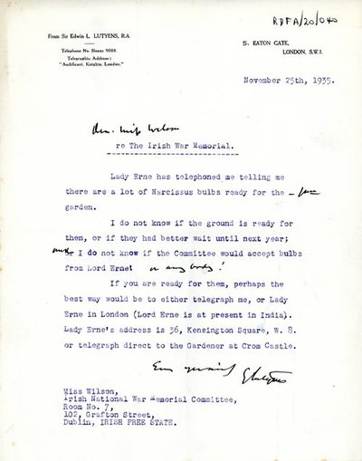 Letter from Sir Edwin Lutyens, 5 Eaton Gate, London S.W.I to Miss H.G. Wilson, Secretary, Irish National War Memorial, Room No. 7, 102 Grafton Street, Dublin.