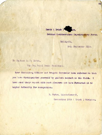 Letter from Lieutenant- General B Mahon to Captain Patrick Richard Tobin, 3 September 1915.