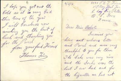 Letter from Private Thomas Finn to Monica Roberts