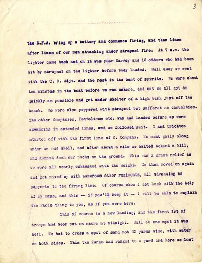 Letter from Captain Patrick Richard Tobin to his father, 13 August 1915.