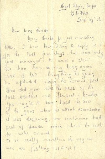Herbert Morris R.F.C.  29th September 1916