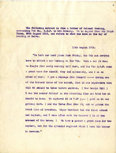 Extract from a published letter from Lieutenant Colonel Geoffrey Downing to his wife.
