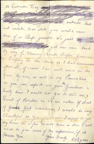 Letter from Private Patrick Byrne to Monica Roberts
