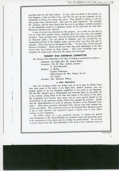 "Copies of a document entitled ""The Irish National War Memorial: Its Meaning and Purpose"""