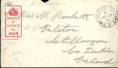 Letter from Private P. Mulligan to Monica Roberts