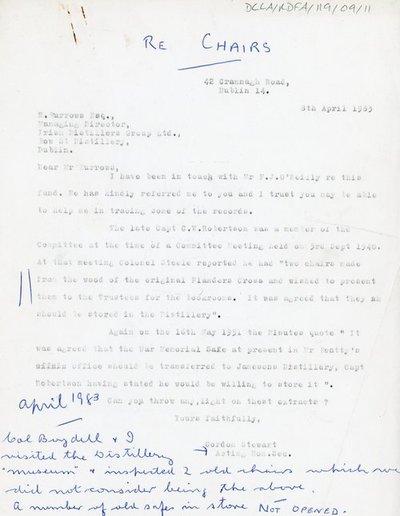 Letter from Gordon Stewart Esq., Acting Hon. Sec to R. Burrows Esq. Managing Director of Irish Distillers Group Ltd