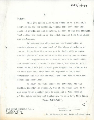 Letter [carbon-copy] from [Miss H.G. Wilson], Secretary, Irish National War Memorial Committee to Sir Edwin Lutyens.