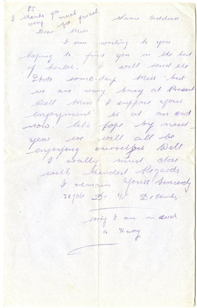 Letter from William De Combe to Monica Roberts