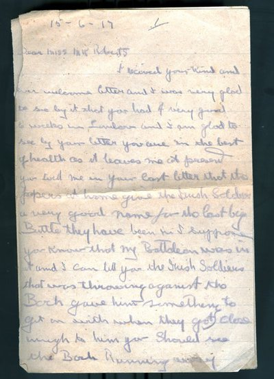 Letter from Pte J Kirwin to Monica Roberts