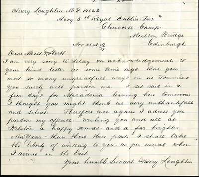 Letter DCLA/RDFA.01.01.025 from Private Harry Loughlin to Monica Roberts