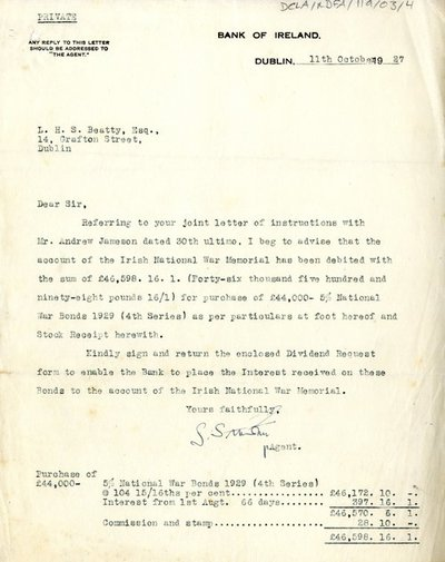 Letter from Bank of Ireland to L.H.S. Beatty, Esq.