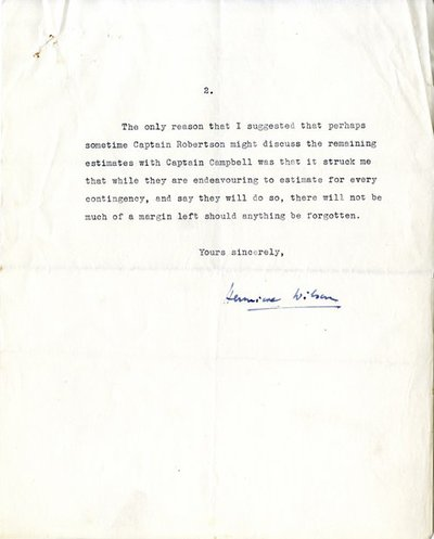 Letter [original] from Miss H.G. Wilson, Secretary, Irish National War Memorial Committee, to 'Mr. Jameson' [Andrew Jameson, trustee of Irish National War Memorial Committee]