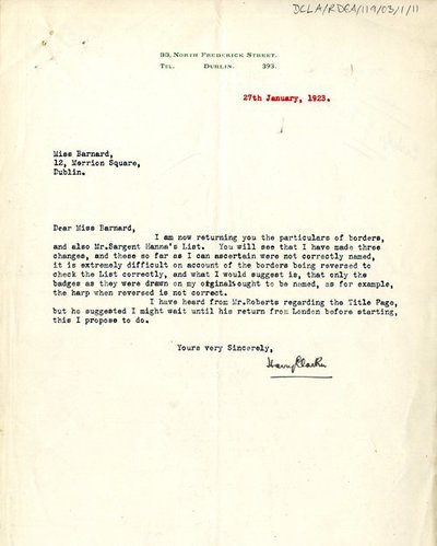 Correspondence between the Irish National War Memorial Committee and Harry Clarke