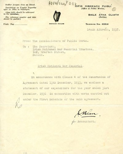Letter [original] from J. Nolan, accountant, Office of Public Works, to Secretary, Irish National War Memorial Committee.