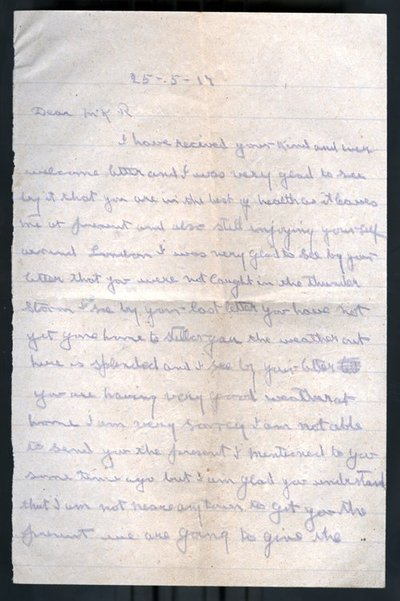 Letter from Private J Kirwin to Monica Roberts