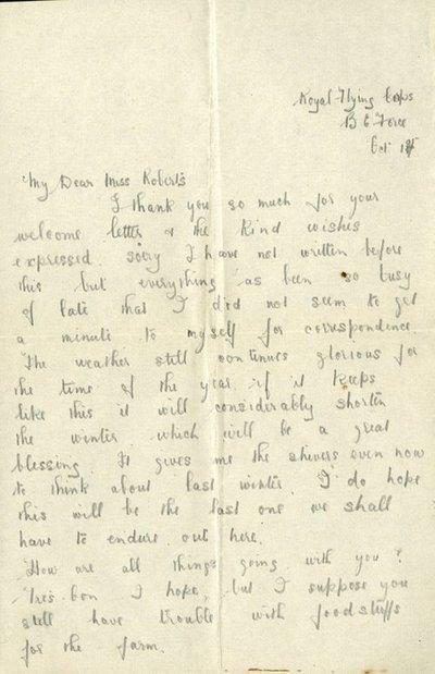 Herbert Morris R.F.C. 1st October 1917
