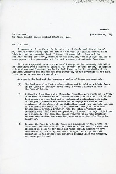 Letter to the Chairman of the Royal British Legion Ireland (Southern) Area from Lieutenant C. J. Midmer