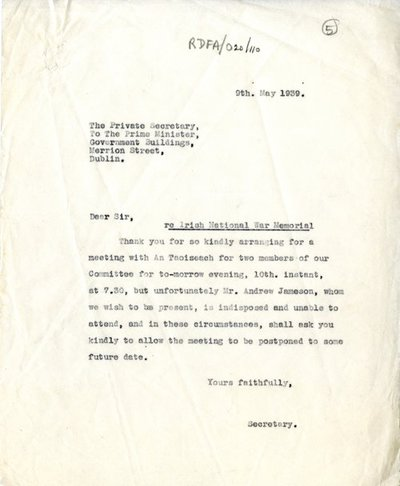 Correspondence between Miss H.G. Wilson, Secretary, Irish National War Memorial Committee and Secretary to Department of An Taoiseach.