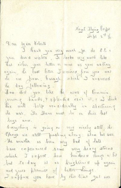 Herbert Morris R.F.C. Sept 2nd 1916